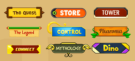 24个色彩鲜艳的游戏按钮创意设计 PSD免费下载
