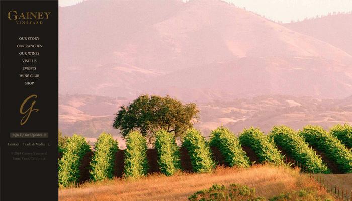 gainey vineyard dark website layout