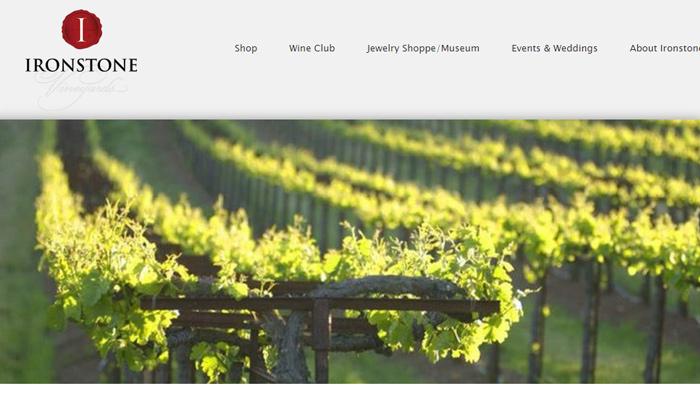 ironstone vineyards winery website homepage