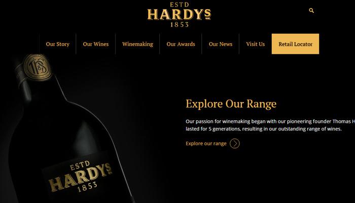 hardys homepage dark website layout winery