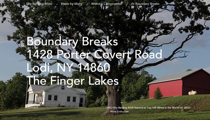 boundary breaks vineyard website layout