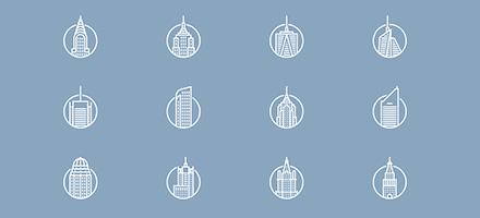秋季图标上新!12款精美细致建筑图标PSD下载
