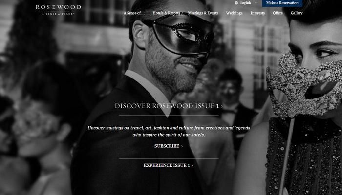 rosewood hotels website homepage design