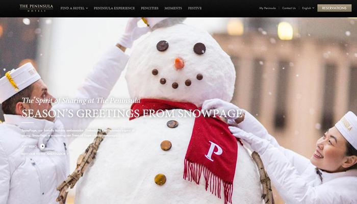 homepage dark peninsula website layout