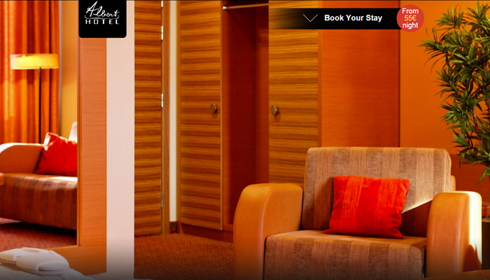 hotel riga albert hotel website dark homepage