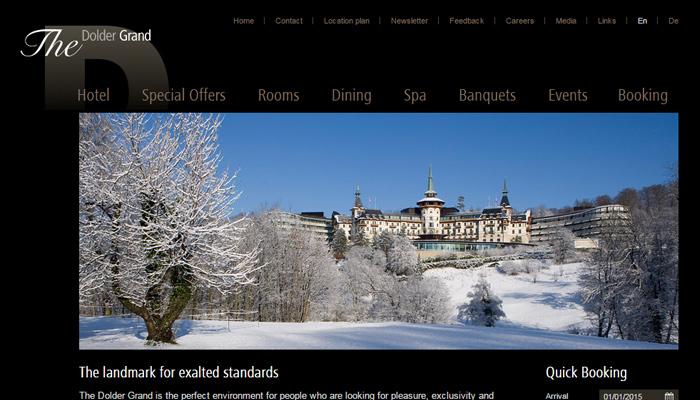 dolder grand hotel website homepage design