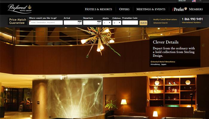 preferred hotel group website homepage