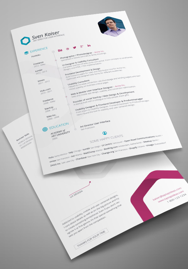 Free Vita / Resume / CV InDesign Template by TapTapIdeas