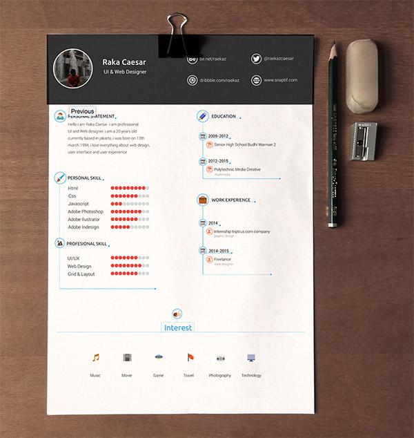 Resume / CV Template Free Download by Raka Caesar