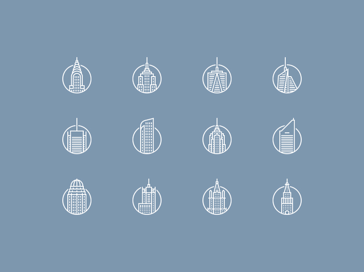 New York Buildings Icons Set preview