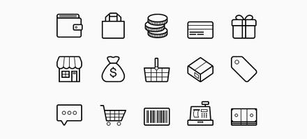 15个免费的电子商务和购物的矢量图标