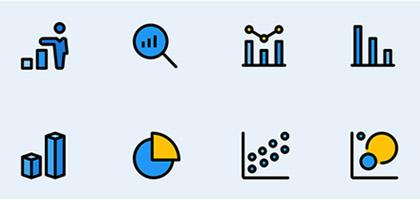 实用线性70 枚数据分析元素图标